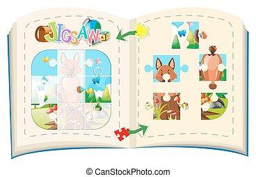 Jigsaw pieces of fox on the log