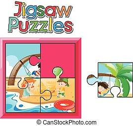 Jigsaw pieces of kids on the beach