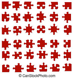 Jigsaw Pieces - 36 pieces of a jigsaw puzzle. All pieces fit...