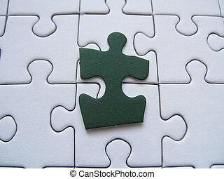 Jigsaw pieces - Jigsaw with one green piece