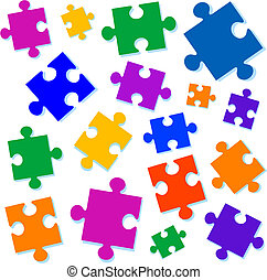 Jigsaw pieces vector illustration. All elements are separate and fully editable