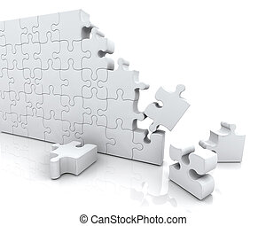 Jigsaw puzzle - 3D render of an unfinished jigsaw puzzle