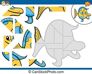 jigsaw puzzle activity - Cartoon Illustration of Educational...