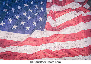 Jigsaw puzzle american flag texture background
