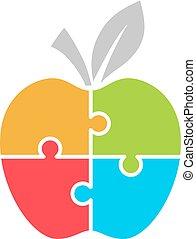 Jigsaw puzzle apple diagram