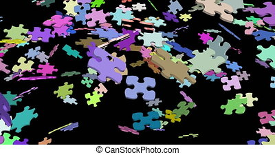 Jigsaw puzzle assembling 3d footage. Diverse matching pieces connecting abstract animation. Multicolor puzzle floating pieces joining isolated on black background. Problem solving metaphor