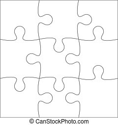 Jigsaw Puzzle Blank Template Or Cutting Guidelines Of 9 Pieces