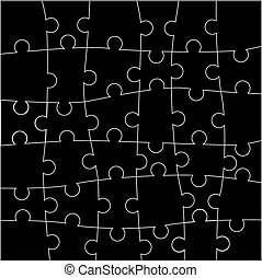 Jigsaw puzzle blank parts template.