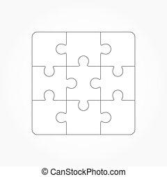 Jigsaw puzzle blank template of nin