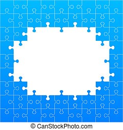 Jigsaw puzzle blank template or cutting guidelines. Vector illustration.