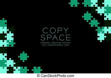 Jigsaw puzzle blue green color illustration pattern isolated on black background with copy space, vector eps10