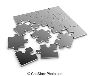 Jigsaw Puzzle - 3D Illustration of a Jigsaw Puzzle