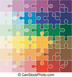 Jigsaw puzzle color of the rainbow. illustration.