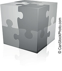 Jigsaw puzzle cube - detailed illustration of grey jigsaw...
