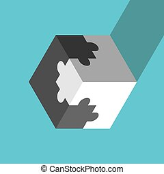 Jigsaw puzzle cube, opposites