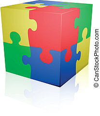 Jigsaw puzzle cube - detailed illustration of colorful a...
