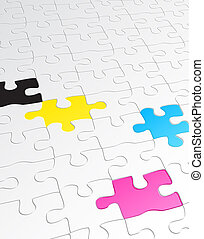 jigsaw puzzle - illustration of abstract background made of...