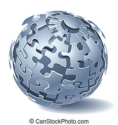 Jigsaw puzzle dynamic Explosion - Jigsaw puzzle sphere. ...