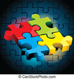 jigsaw puzzle - illustration of pieces of jigsaw puzzle on...