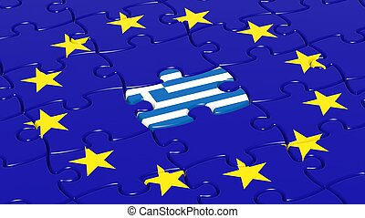 Jigsaw puzzle flag of European Union with Greece flag piece.