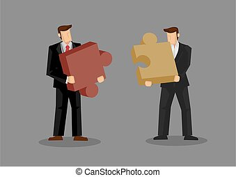 Jigsaw Puzzle for Business Fit Conceptual Cartoon Vector ...
