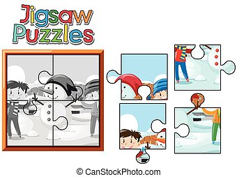 Jigsaw puzzle game with kids and snowman