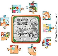 Jigsaw puzzle game with kids playing