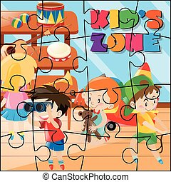 Jigsaw puzzle game with kids playing in room