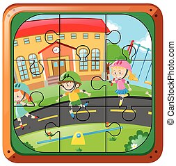 Jigsaw puzzle game with kids skating on the road