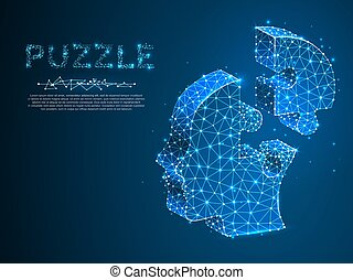 Jigsaw Puzzle head. Business infographic. Neon low poly human head in form of puzzle. Polygonal wireframe. Vector autism