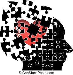 Jigsaw Puzzle head man with a heart shatters into pieces. Vector