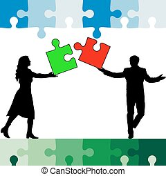 Jigsaw puzzle hold silhouettes of men and women color....