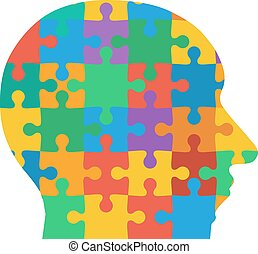 Jigsaw puzzle human head, colored background.