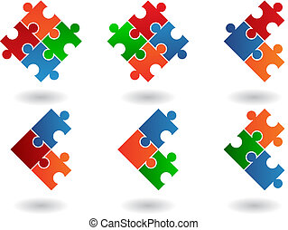 Jigsaw puzzle icons isolated on a white background, vector...