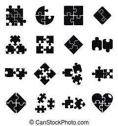 Jigsaw puzzle icons set, simple style
