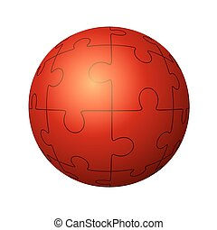 Jigsaw puzzle in the form of a circle. Vector