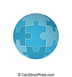 Jigsaw puzzle in the form of a sphere. Vector