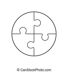 Jigsaw puzzle in the form of circle consists of four parts. Vector illustration.