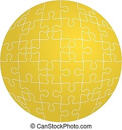 Jigsaw puzzle in the shape of a sphere. Vector illustration