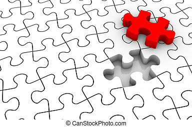Jigsaw Puzzle Last Piece - White jigsaw puzzle with last...