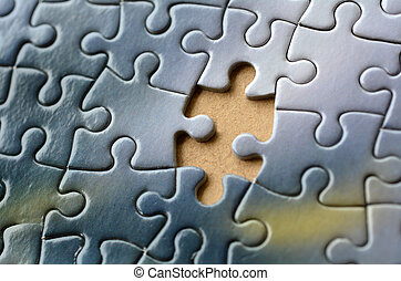 Jigsaw puzzle - Missing jigsaw puzzle piece. Business...