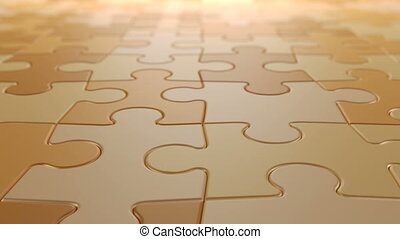 Jigsaw Puzzle Moving Background, Seamless Looping 3d Animation with a Depth of Field, 4K Ultra HD