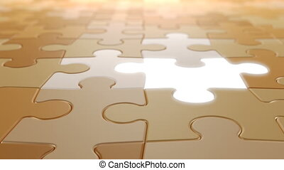 Jigsaw Puzzle Moving Background with Lighting Elements, Seamless Looping 3d Animation with a Depth of Field, 4K Ultra HD 3840x2160