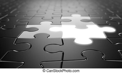 Jigsaw Puzzle Moving Background with Lighting Elements, Seamless Looping 3d Animation with a Depth of Field, 4K Ultra HD