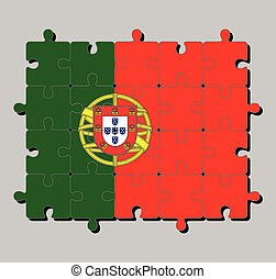 Jigsaw puzzle of Portugal flag in 2:3 vertically striped of green and red, with coat of arms of Portugal.