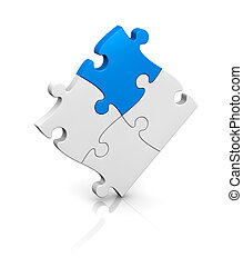 jigsaw puzzle - one puzzle completed with a piece of ...