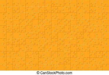 Jigsaw puzzle orange color illustration pattern isolated on black background, vector eps10