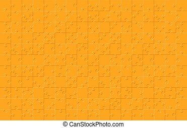 Jigsaw puzzle orange color illustration pattern isolated on black background, vector eps10