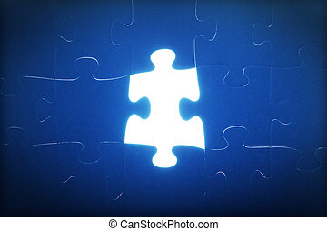 Jigsaw puzzle piece missing. Light glowing. Solution, solve...