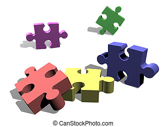 Jigsaw puzzle pieces ready to be attached